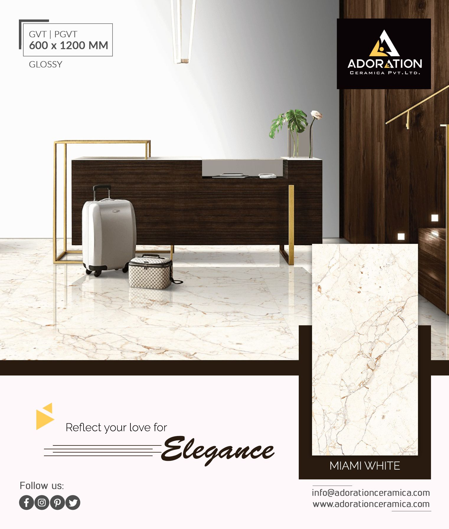 Reflect Your Love For Elegance 600x1200mm Miami White Glossyseries Architecturalflooring Adorationcollection Tile Manufacturers Floor Decor Home Decor