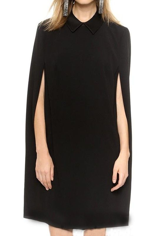 Black Plain Cape Loose Dress