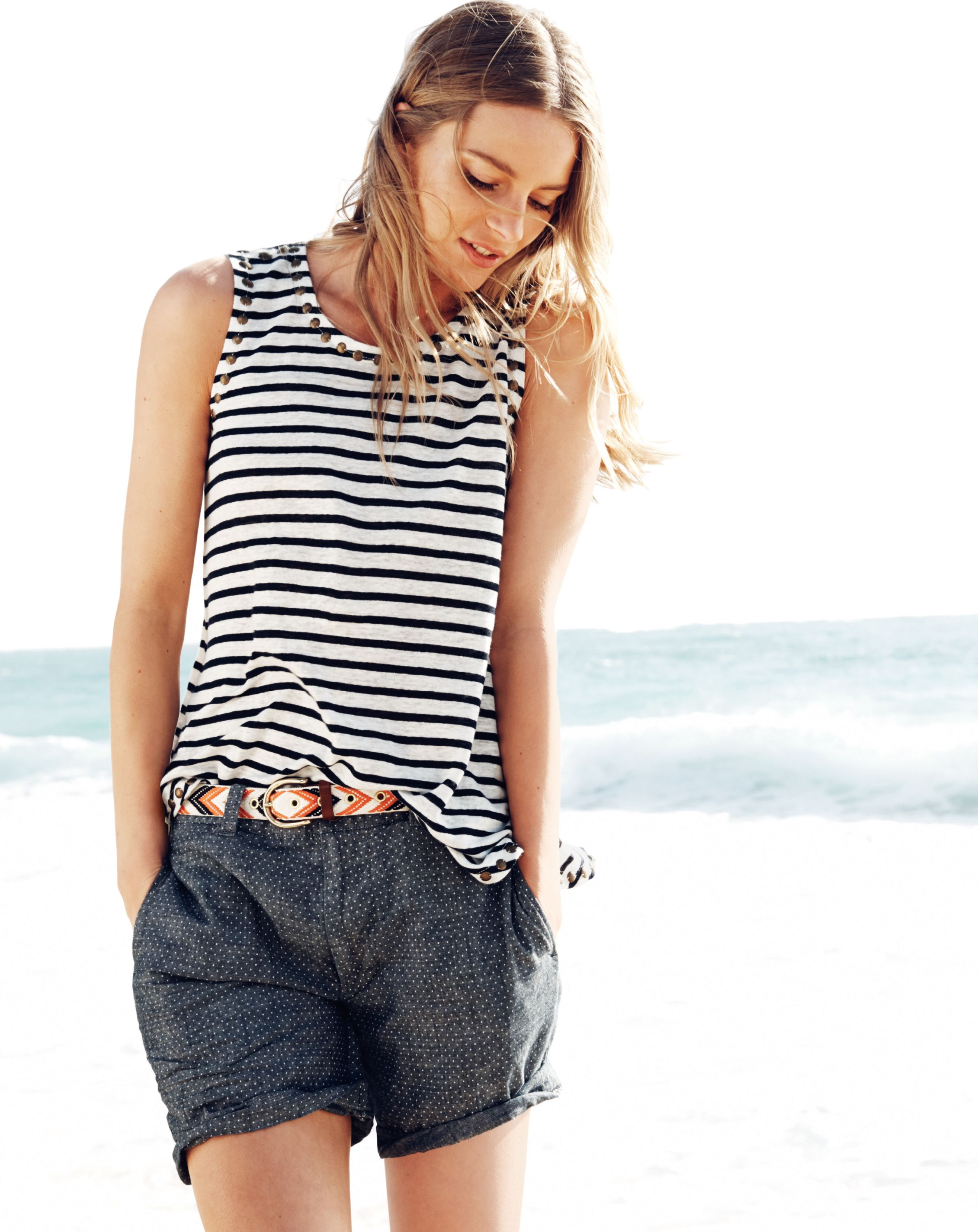 J.Crew women's linen studded tank and chevron belt. To preorder call 800 261 7422 or email erica@jcrew.com.
