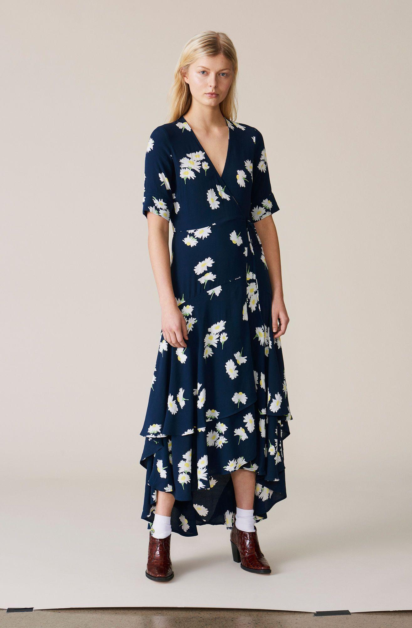 c7832805a68d Silvery Crepe Wrap Dress - Ganni US | Clothes | Ganni dress, Wrap ...
