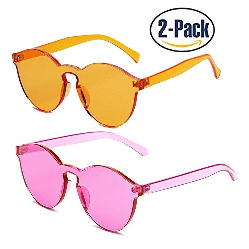 ece50bd35dd One Piece Sunglasses 2 Pack Transparent Candy Color Eyewear Orange Rose Red  23     Read more reviews of the product by visiting the link on the image.
