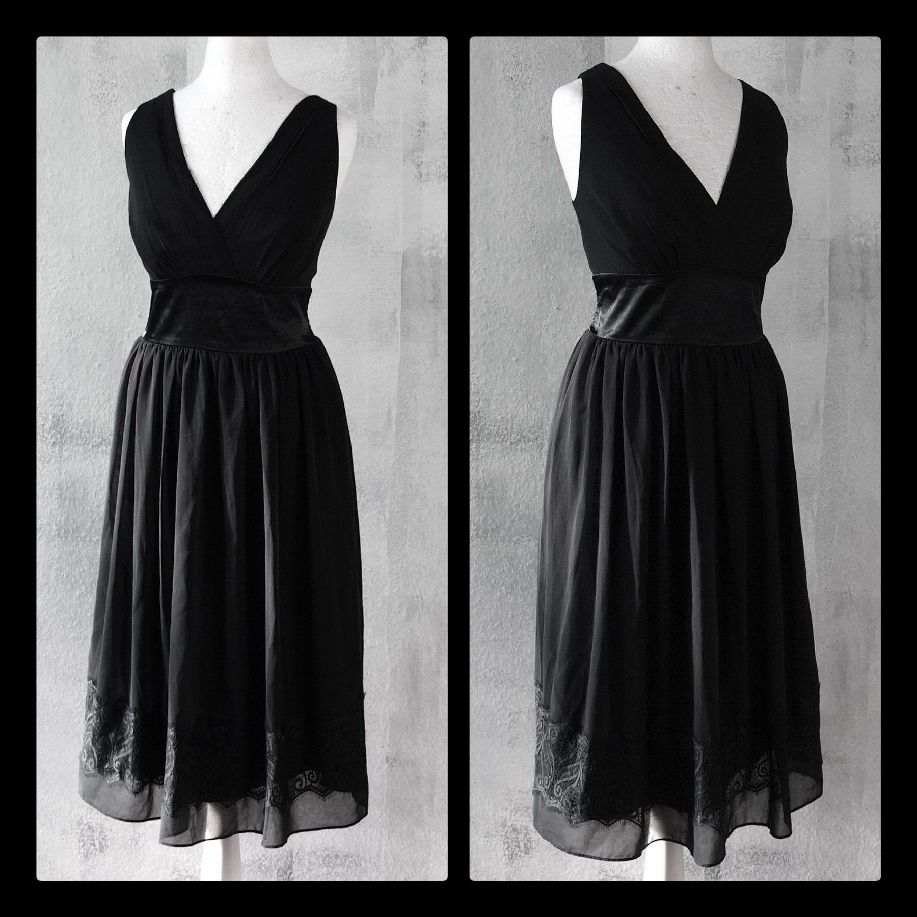 S M Gothic Chiffon Kleid Spitze Abendkleid Vintage Second Hand