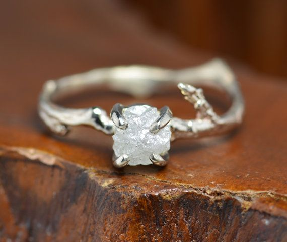 1 Carat Uncut Diamond Engagement Ring with by PointNoPointStudio