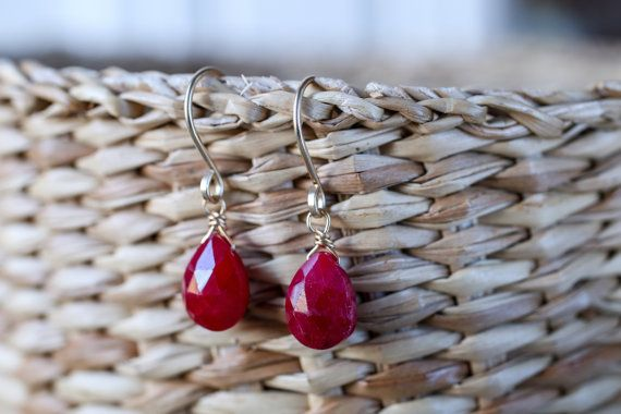 Genuine Red Ruby Earrings July Birthstone by BoutiqueBaltique