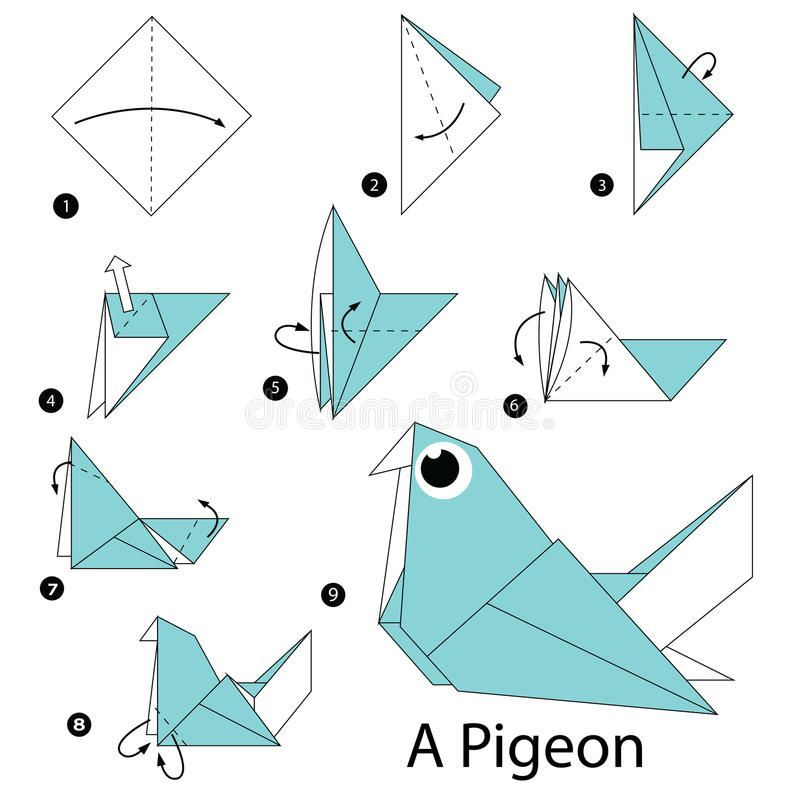 Photo of Schritt für Schritt Anleitung Wie man Origami zu einer Taube macht. Stock-Vektorgrafik – Illustration von Papagei, machen: 67134112 – Origami 3
