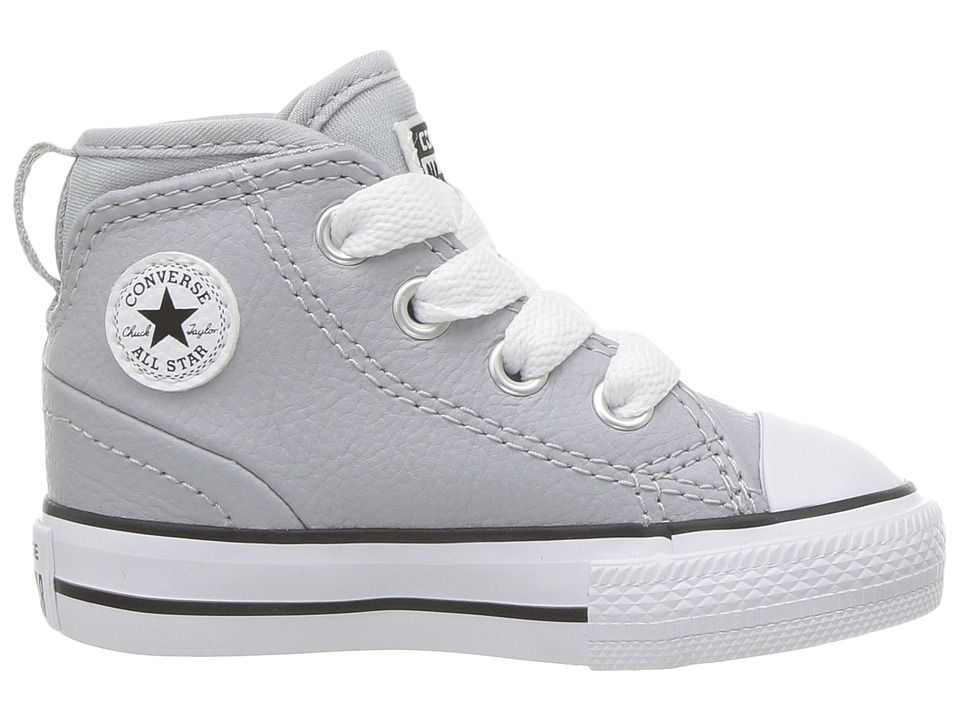 7044fd31970 Converse Kids Chuck Taylor All Star Syde Street Leather Mid (Infant Toddler)  Boy s Shoes Wolf Grey Wolf Grey White
