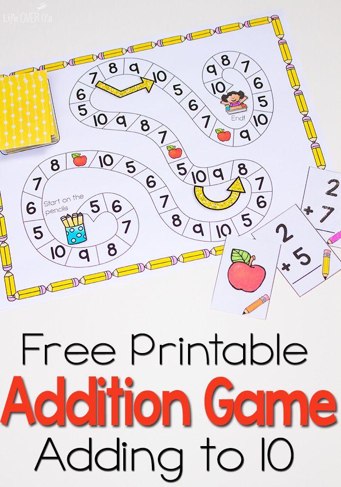 Free Addition Facts Game Math addition, Fun math