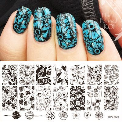 $199 Tulip Pattern Nail Art Stamp Template Rose Image Plate BORN - stamp template