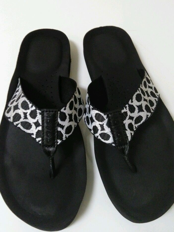 889b71a10 NOW SELLING ON EBAY COACH Jessalyn Black   White Signature Web Flip Flop  Thong Sandals Size 8 B  Coach  FlipFlops