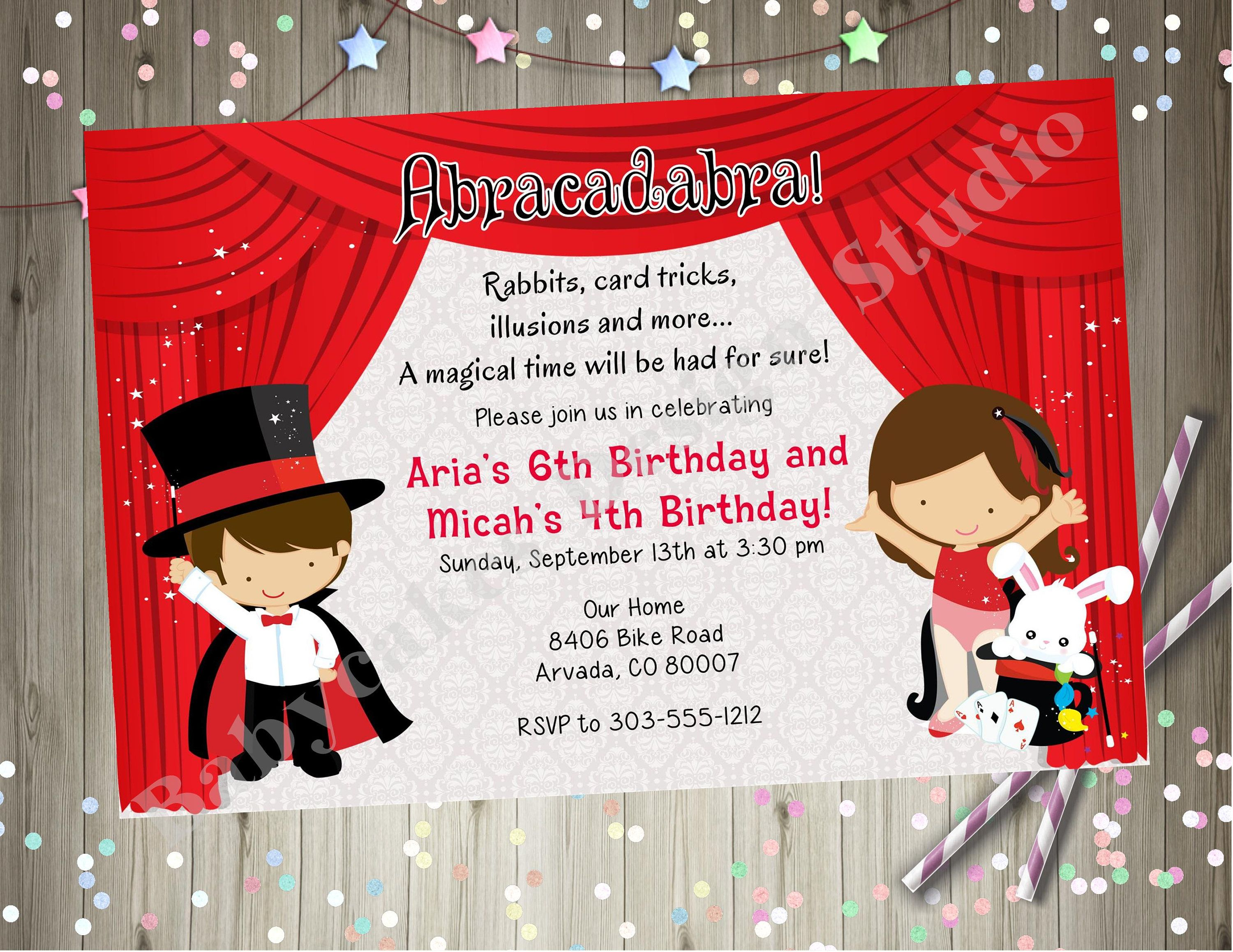 Magic Show Birthday Party Invitation invite Magician Birthday ...