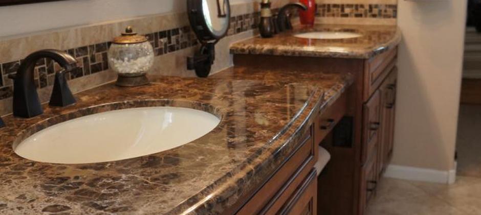 Dark Emperador Marble Countertop | ... Cabinets Desert Brown Granite Ivory  Glazed Cabinets Bordeaux