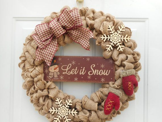 holiday burlap wreath let it snow wreath by chloescraftcloset - Christmas Burlap Wreath