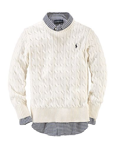 Boys 8 To 20 Cotton-Cable Crewneck Sweater-the bay