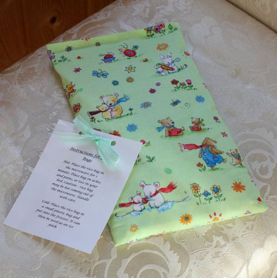Teddy Bear Rice Bag, Children, Kid, Cuddle Me, Green, Flowers, Cute, Boo Boo Bag, Large, Girl, Boy