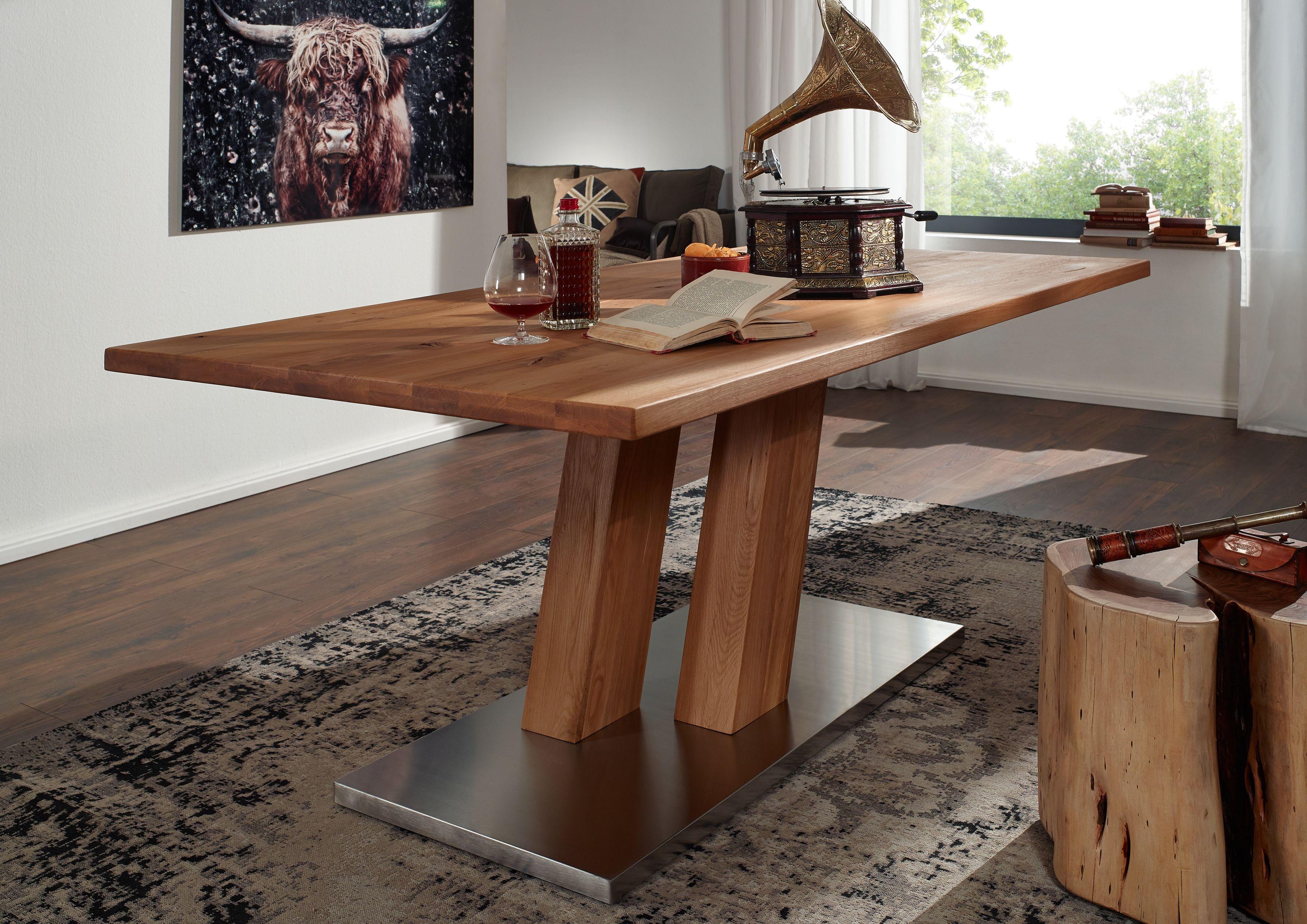 Esstisch baumstamm optik massiver baumstamm tisch genesis cm eiche massivholz baumkante - Tisch lasieren ...
