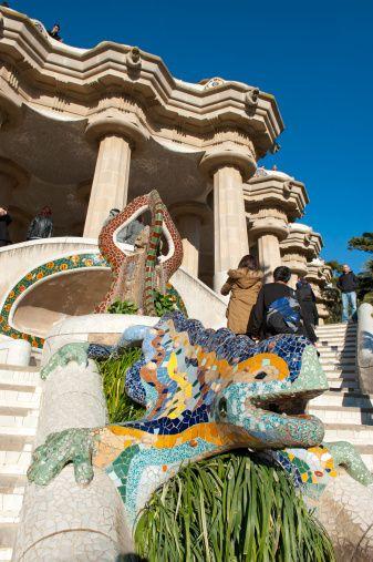 Gaudis Lizard Stairway Park Guell Barcelona