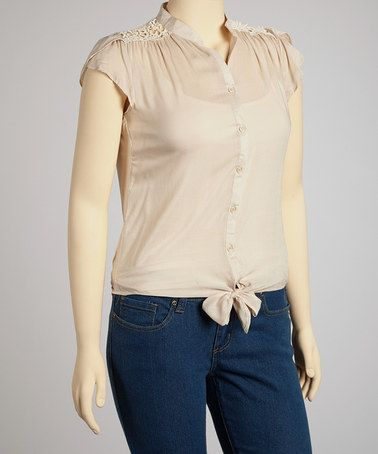 Take a look at this Taupe Tie Waist Top - Plus by Rachel and Chloe on #zulily today!