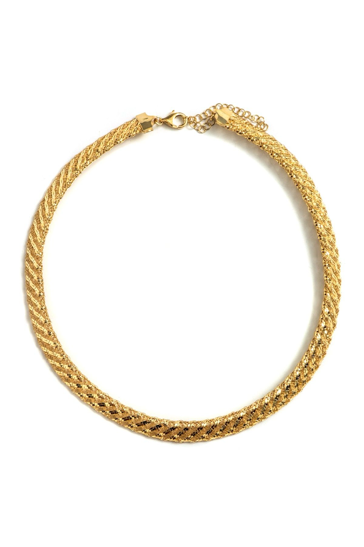 K yellow gold plated sterling silver thick mesh necklace on