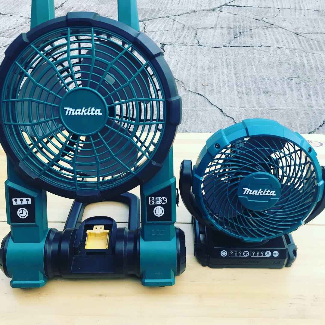 先日のキャンプで何かと注目されたマキタの扇風機 今年小型の首振りモデルが出たので購入してみました 角度も相当調節できるし色々使えそうです 先日のスノーピークhqでのキャンプではマキタの扇風機が大活躍でした 真夏はキャンプ以外でもどこでも使える扇風機は