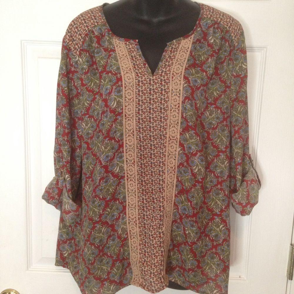 a3264fa036a DANIEL RAINN Peasant Boho XL Tunic Top Crochet Lace Floral Prairie Tab  sleeves  DanielRainn  PeasantTunic  VersatileCareerCasual