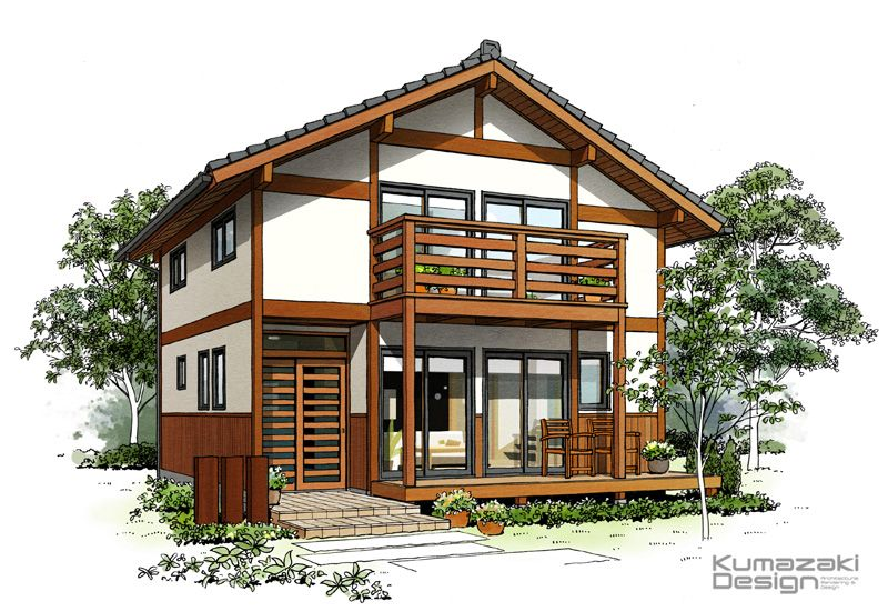 K28 ペン画 外観パース 木造住宅パース 瓦屋根の住宅 手書きパース