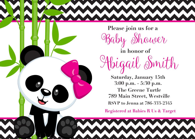 Panda Bear, Boy or Girl, Pink or Blue, Baby Shower Invitation ...