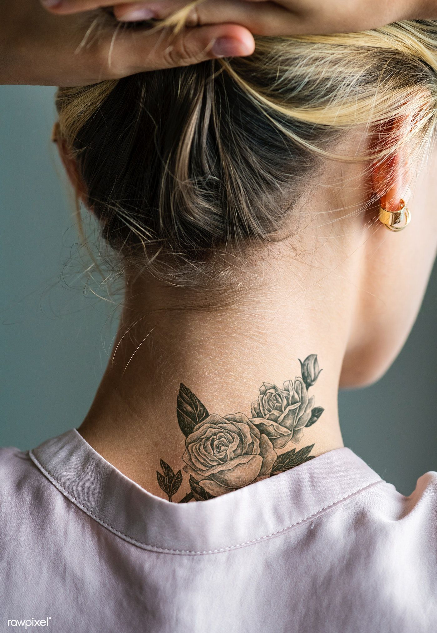 Download premium psd of Back neck tattoo of a woman 383879