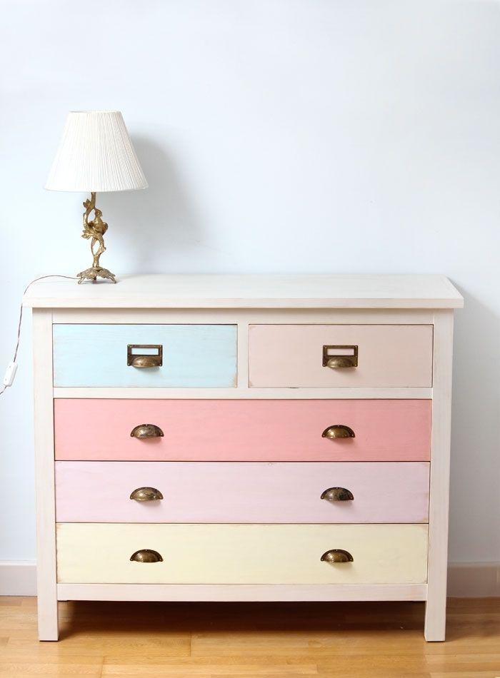 Cómoda cajones colores pastel | Bazar Vintage & Chic: Muebles ...
