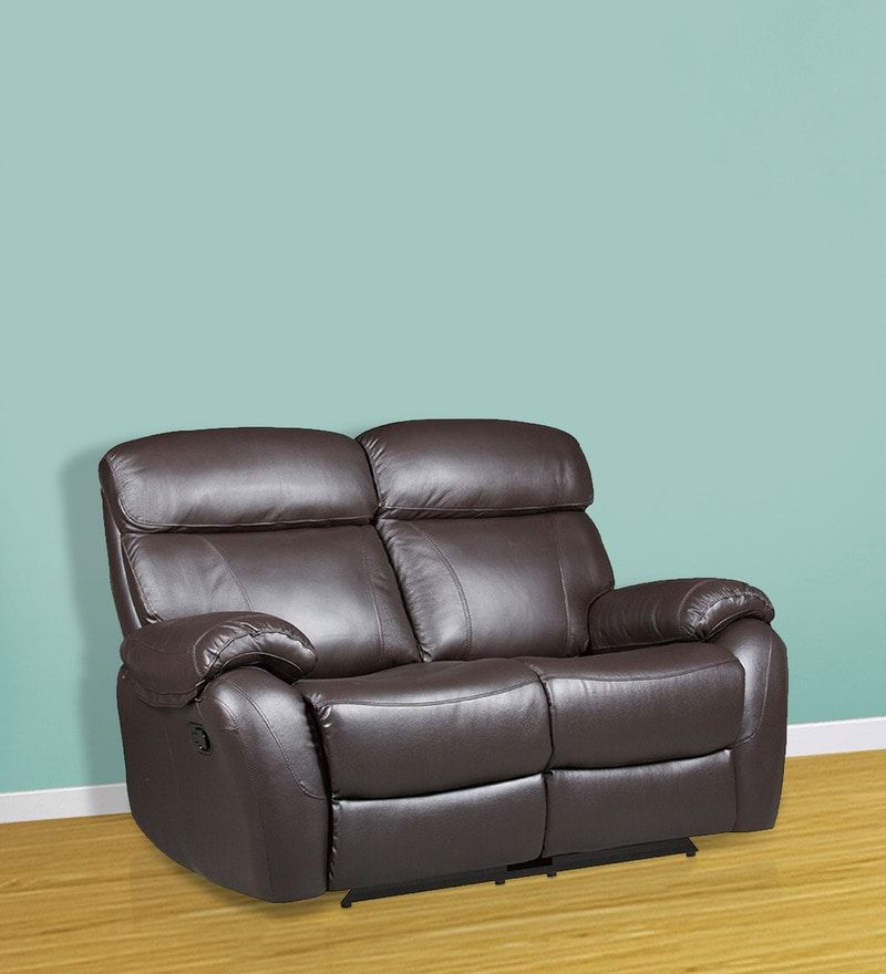 Two Seater Half Leather Manual Recliner Sofa In Brown Colour