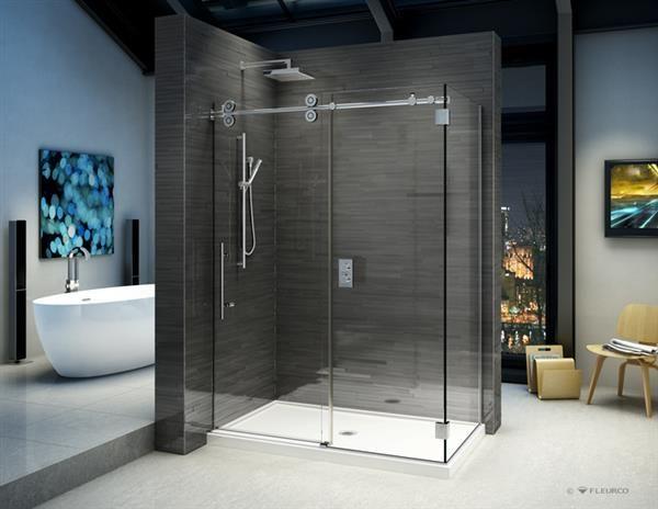 Fleurco Glass Shower Doors Kinetik Kt In Line 2 Sides Wall Shower Doors Glass Shower Doors Glass Shower