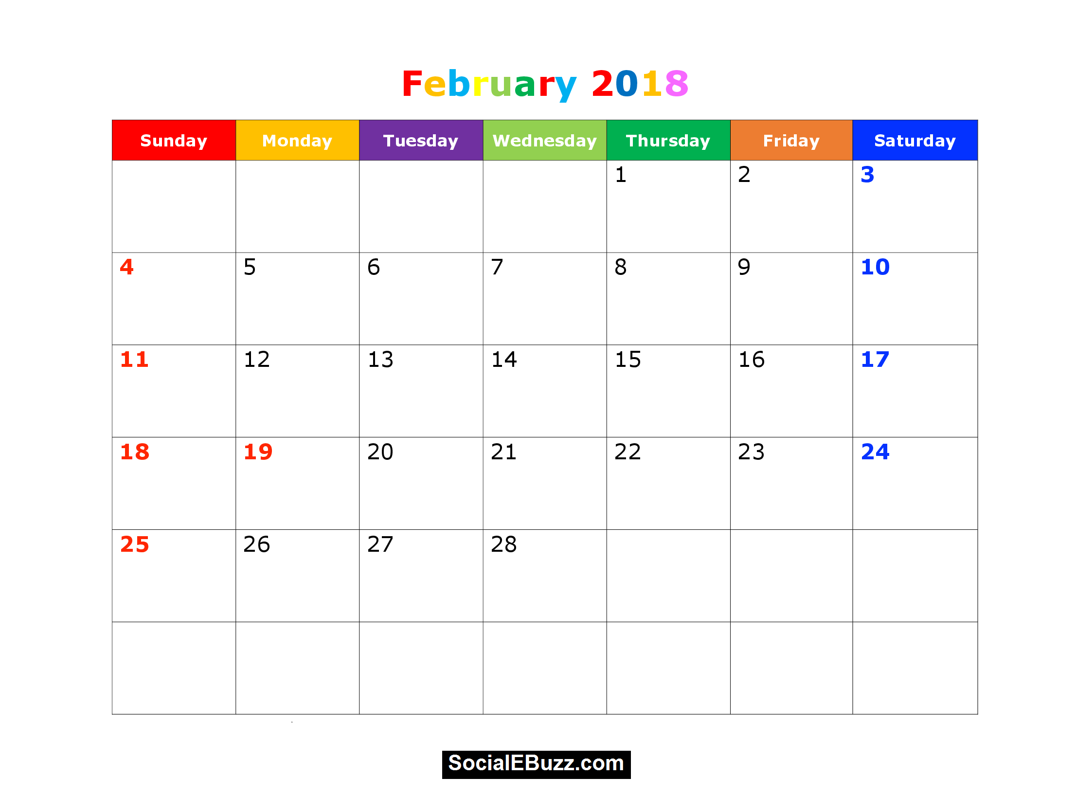 February  Calendar With Holidays HttpSocialebuzzCom