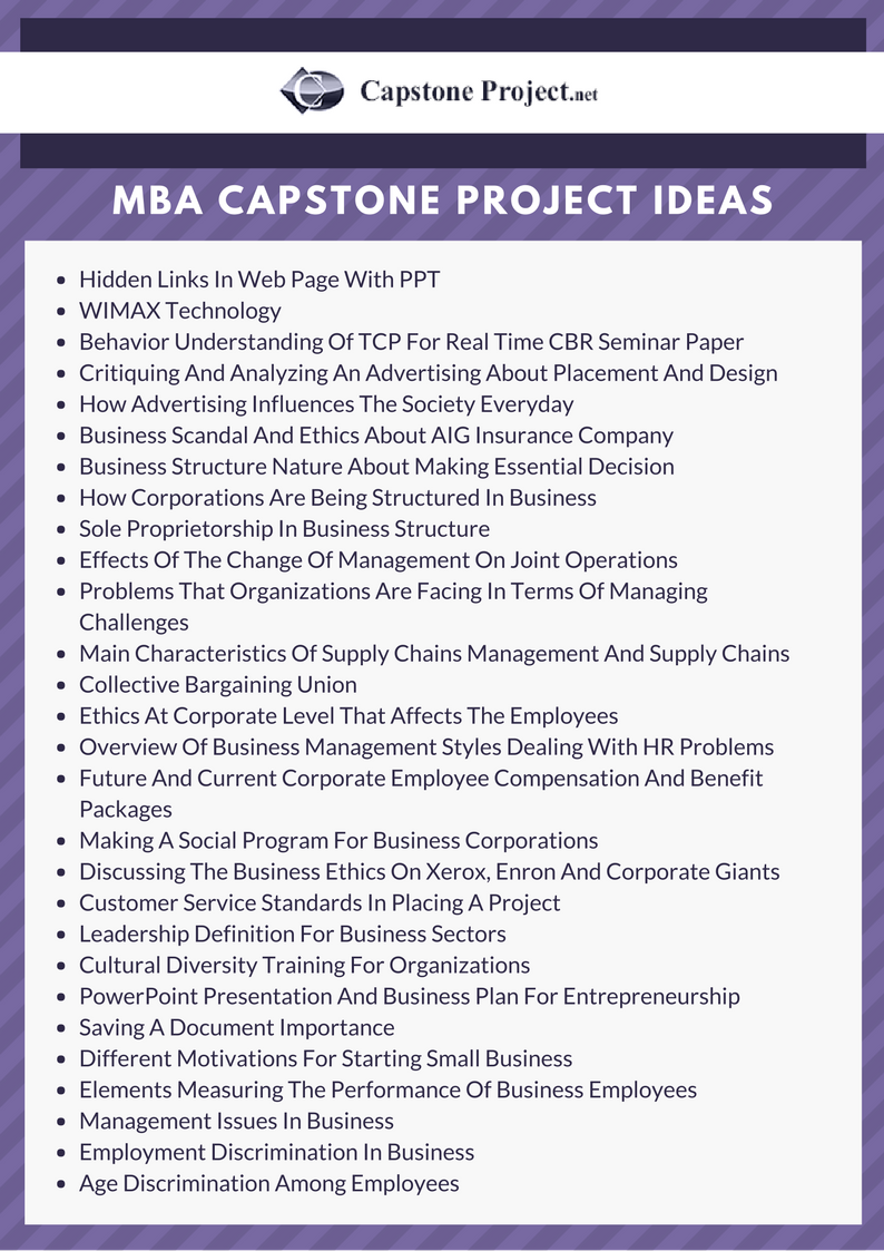 It's sometimes difficult to come up with a topic, so check this list of mba caps...