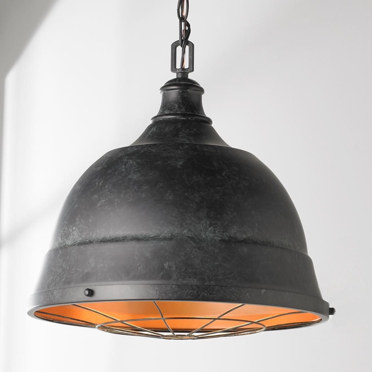 Weathered Industrial Caged Pendant 2 Light Industrial Pendant