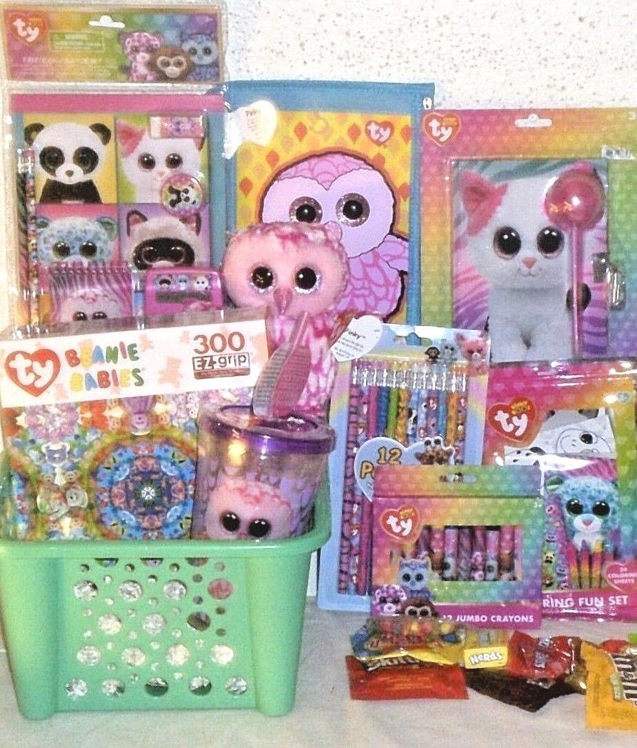 67127daa208 NEW TY BEANIE BABIES EASTER TOY GIFT BASKET PINKY BOO DOLL TOYS SCHOOL  SUPPLIES