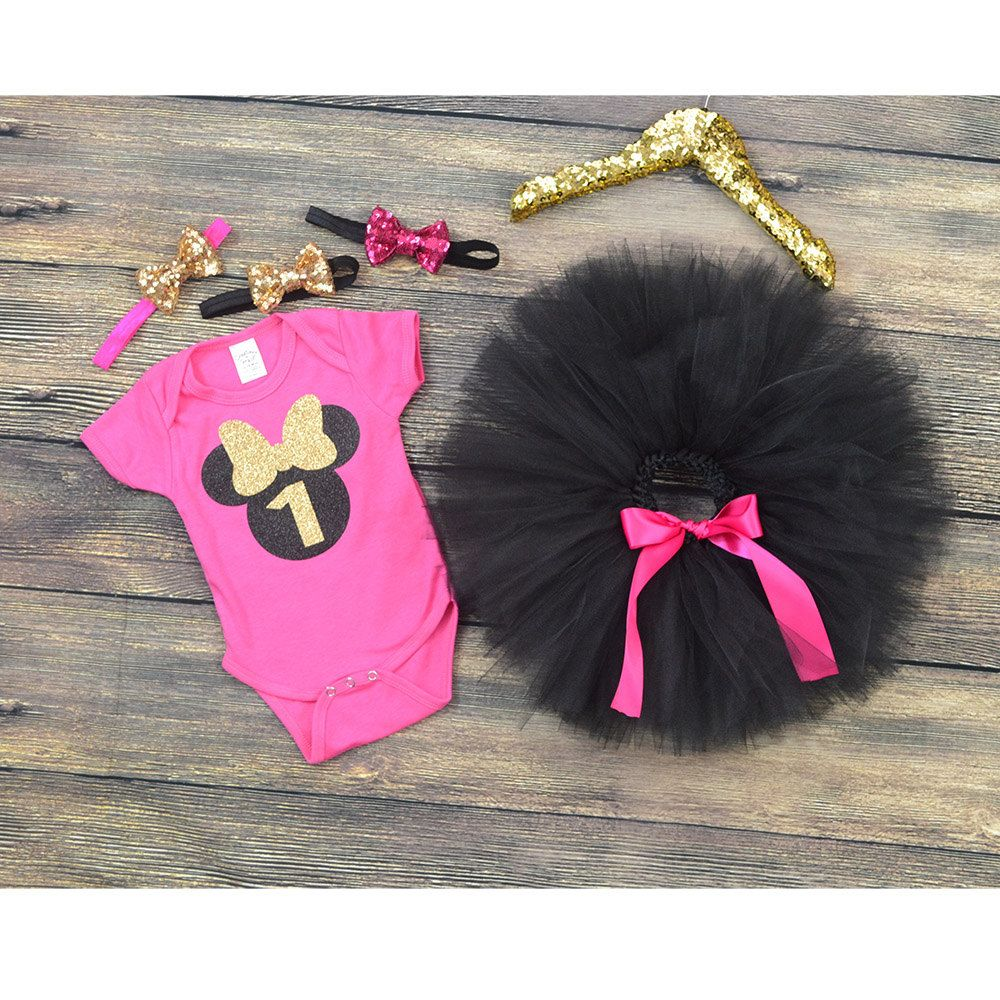 Pink And Black Minnie Mouse Decorations First Birthday Minnie Mouse Minnie Mouse Theme Party Hot Pink