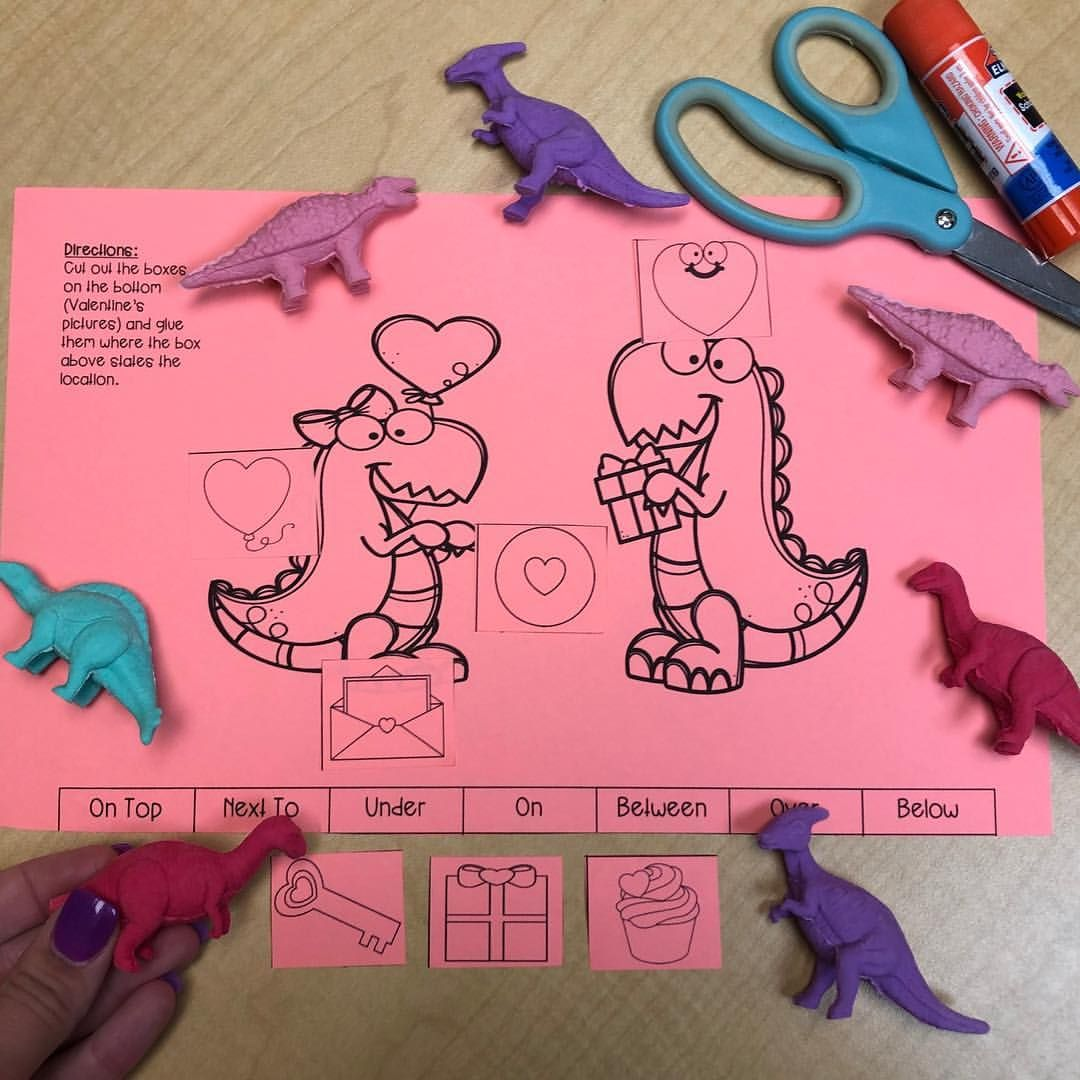 Dinosaur Valentine S Day Prepositions No Prep Packet Print