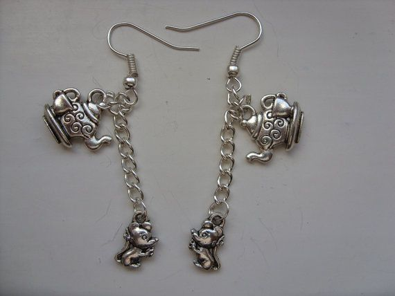 Handmade Alice in Wonderland Silver Teapot & Cup and Dormouse  Earrings