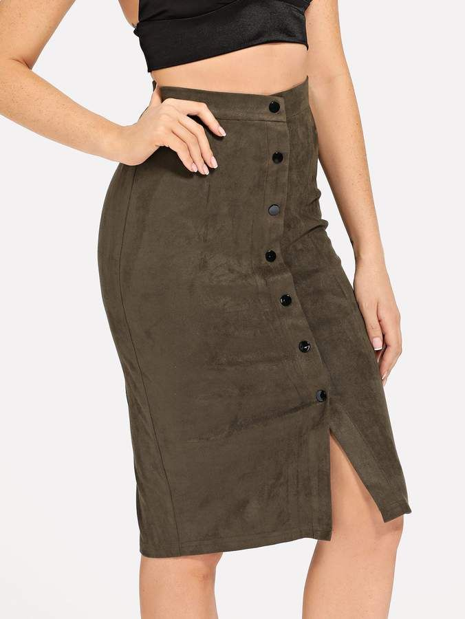 018d808e32dc9d Shein Button Up Suede Bodycon Skirt in 2019   Products   Body con ...
