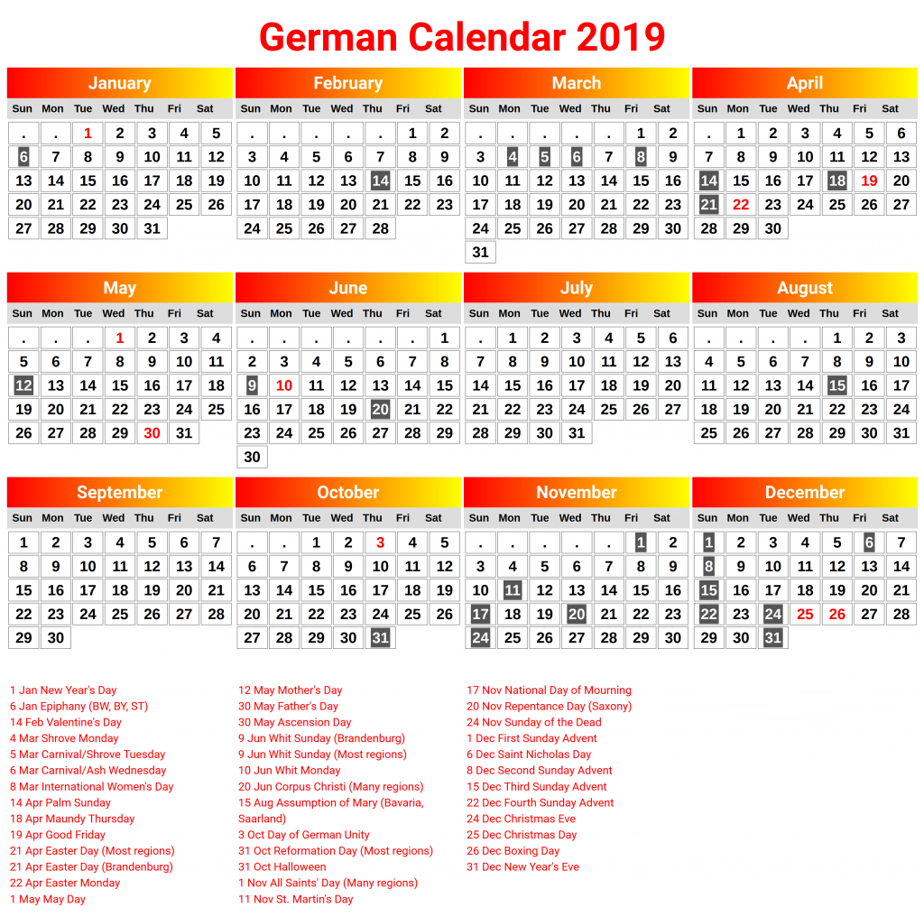 Printable Germany 2019 Calendar