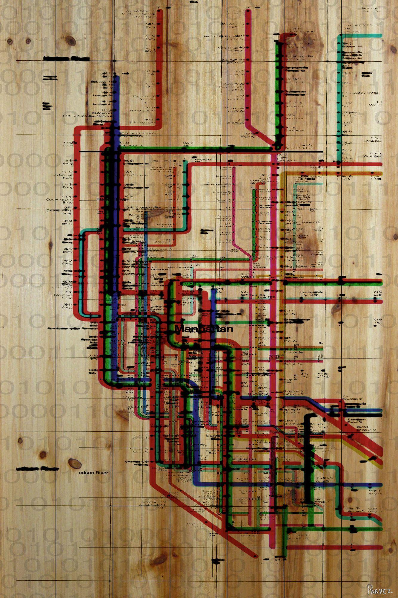 Subway art print on natural pine wood painting prints graphic