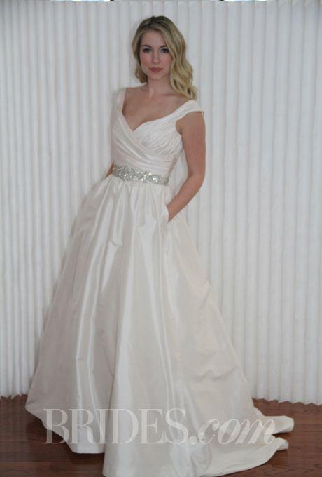 Brides Modern Trousseau Spring 2017 Marena Satin A Line Wedding Dress With V Neckline And Off The Shoulder Straps