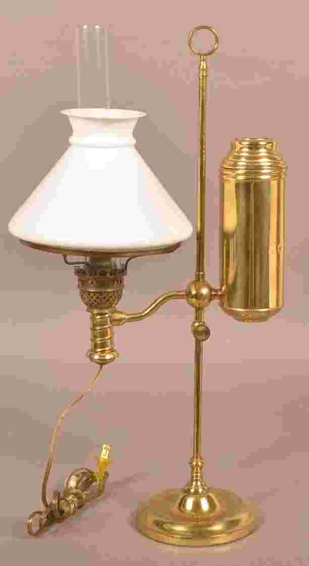 Antique Brass Single Arm Student Lamp Electrified Opaque