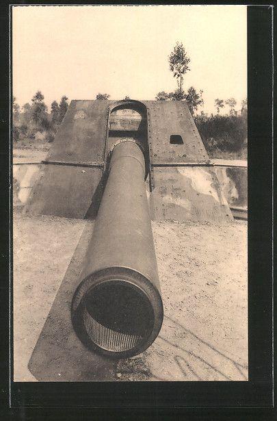 old postcard: AK Moere, Der Lange Max, Küstengeschütz Leugenboom