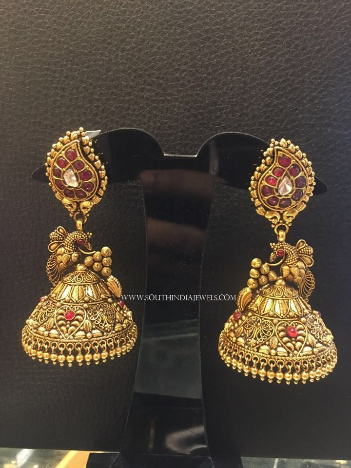 Latest Gold Antique Jhumka Designs 2017 Models
