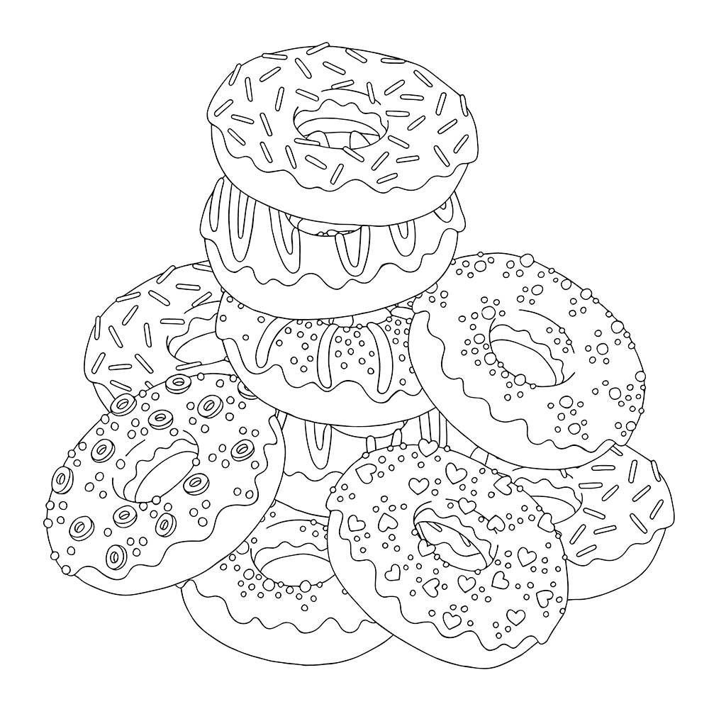 Download Or Print The Free Pile Of Donuts Coloring Page And Find