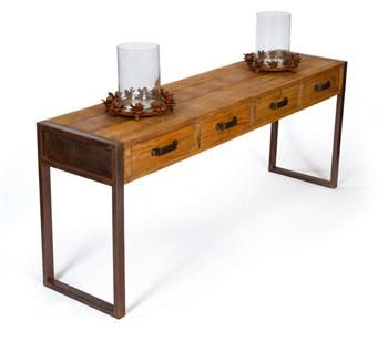 Hawthorne Rustic Reclaimed Wood Iron Console Table