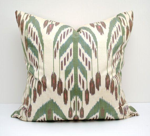 Uzbek Ikat Pillow Cover Cushion Ikat Turquoise Blue Green Handmade Decorative