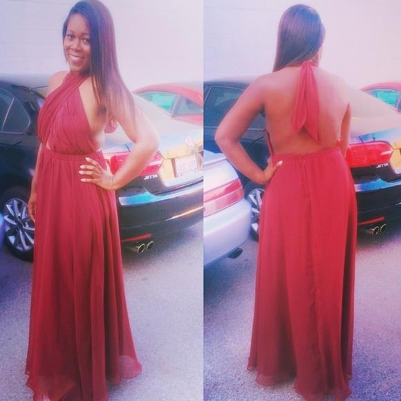 Evening Gown Burgundy Chiffon Dress (Couture) Dresses Maxi