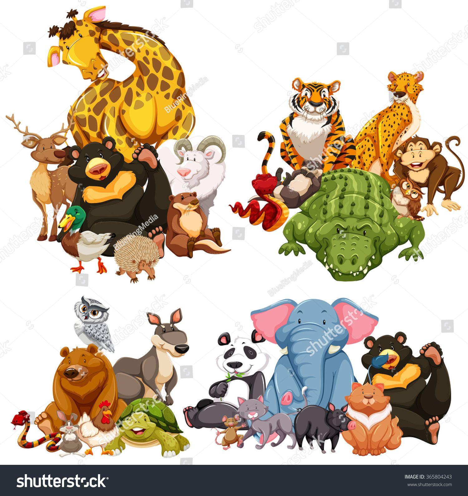 Four Group Of Wild Animals Illustration Ad Affiliate Wild Group Illustration Animals Animal Illustration Animals Wild Animals Artwork