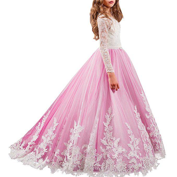 8d380d80338 Rosa Prinzessinnenkleid mit toller Spitze. Dieses traumhafte Kleid ist  perfekt für Blumenmädchen auf einer Hochzeit